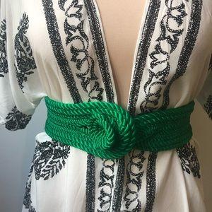 Unique green braided vintage belt, XS